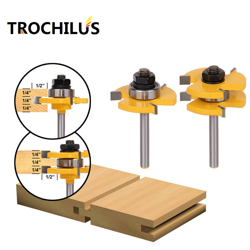 1/4 Shank router  Tongue and Groove Router Bit Set woodworking milling cutter/woodworking router bits /wood cutter 2pcs high grade carbide alloy 1 2 shank 2 1 4 dia bottom cleaning router bit woodworking milling cutter for mdf wood 55mm mayitr