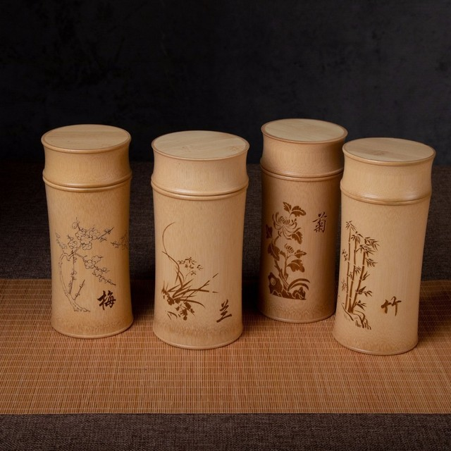 Large Capacity Natural Bamboo Storage Jars For Bulk Products Kitchen Accessories Container Bottle Spices Tea Box Caddy Sealed 1