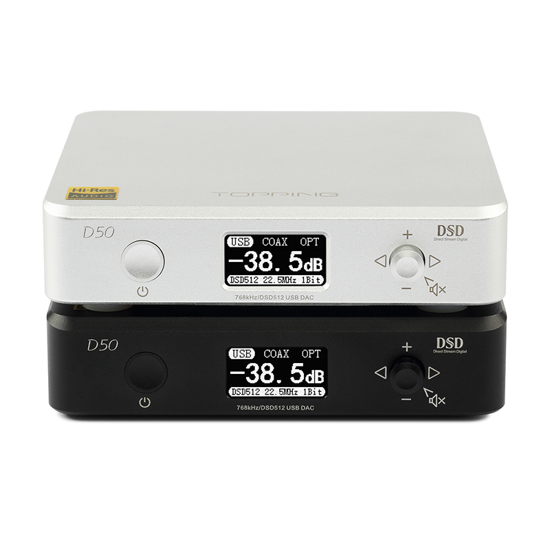 TOPPING D50 DAC USB MINI HIFI decodificación de AUDIO personalizado Thesycon conductor ES9038Q2M DSD512/PCM768 USB/OPT/coaxial entrada de XMOS-in Conversor de digital a analógico from Productos electrónicos    1