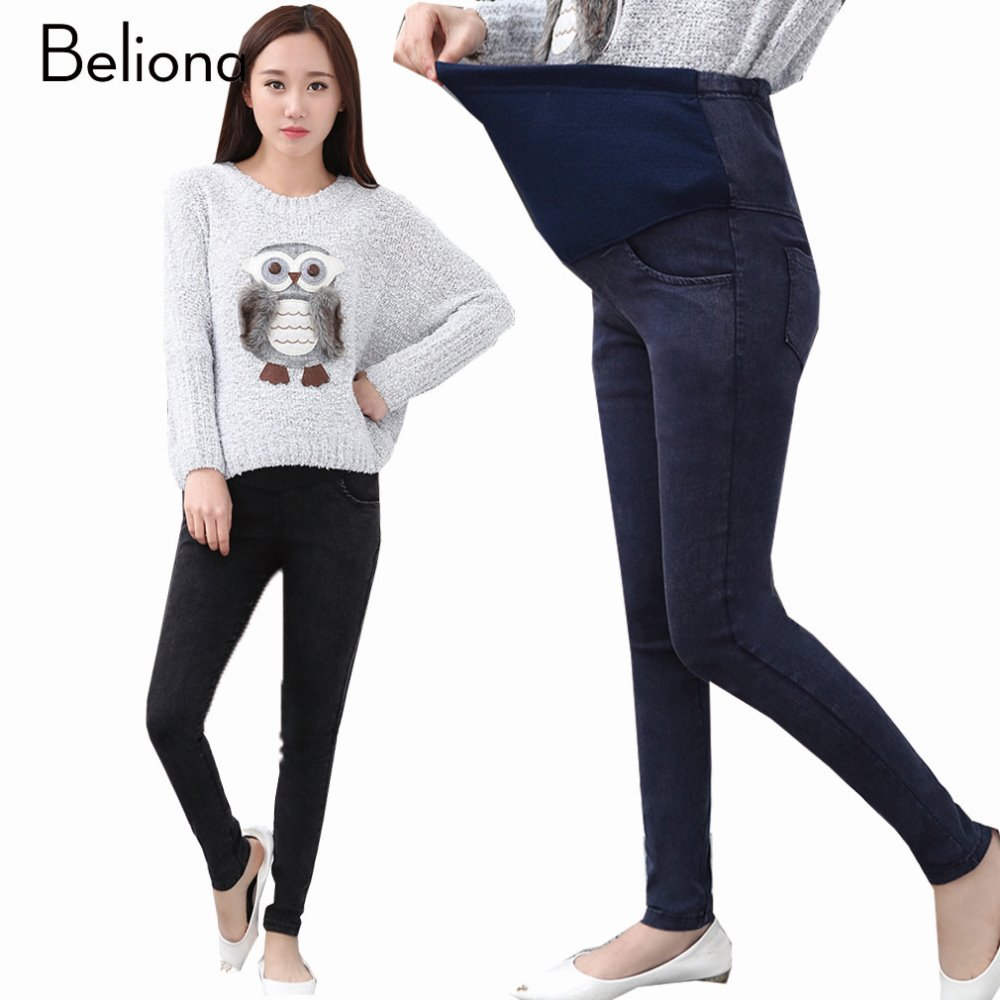 Solid Color Maternity Jeans Denim Black and Blue Maternity ...
