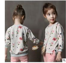 2016 Spring Boys Girls Sweatshirts for 2-6 Years Baby Children Clothes Cotton Casual flower Girls Sweatshirts Hoodies Tops