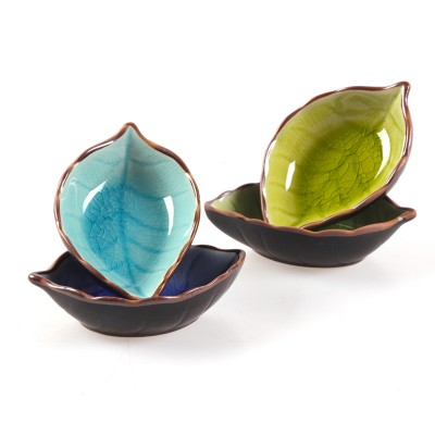 Kitchen Bowl kitchen Tool dish Creative ice crack glaze leaf ceramic seasoning soy sauce vinegar small plates 10*7.5*3cm ...