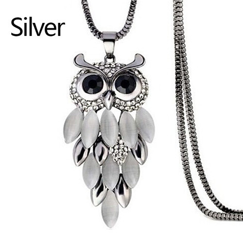 LNRRABC Women Sweater Chain Necklace Owl Design Rhinestones Crystal Pendant Necklaces Jewelry Clothing Accessories Drop Shipping 5