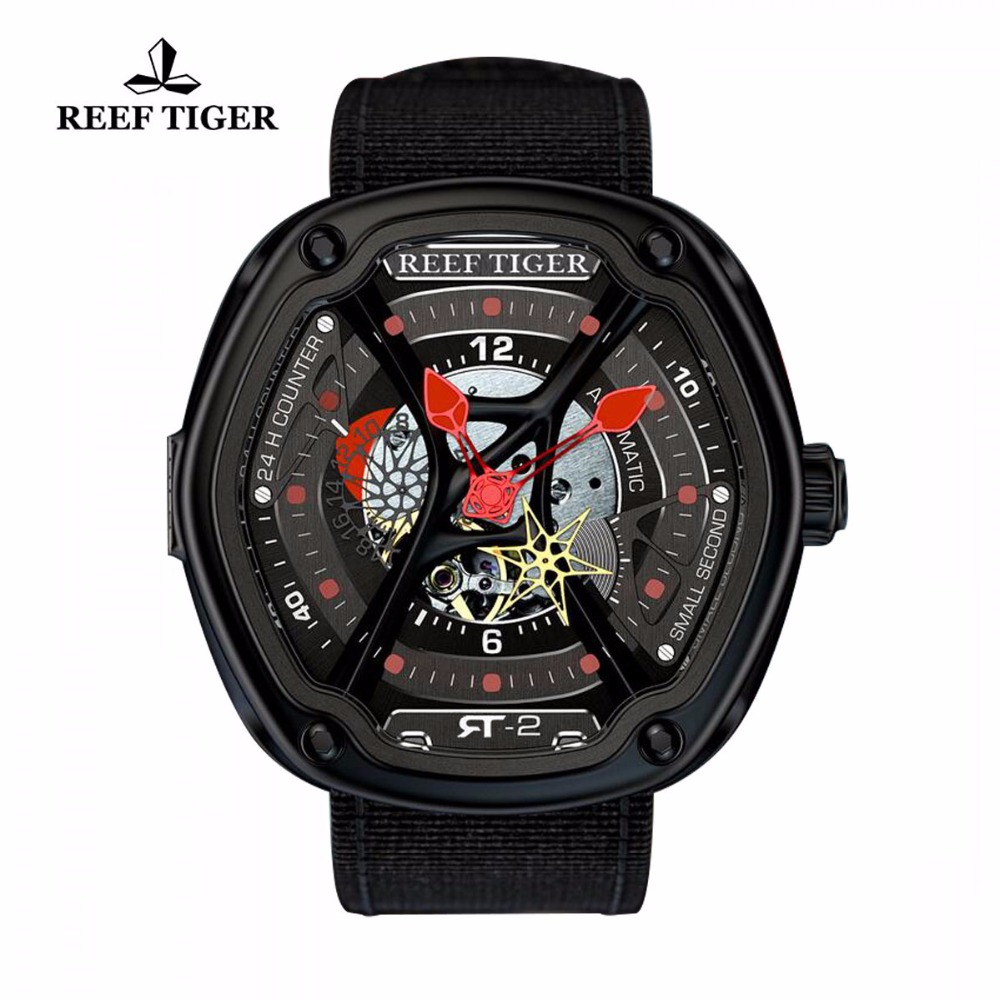 Reef Tiger/RT Luxury Dive Watches for Men Creative Dial Super Luminous Nylon/Leather/Rubber Strap Luminous Design Watch RGA90S7 reef tiger rt top brand automatic watches enjoy your live style dive watch luminous nylon leather rubber watches rga90s7