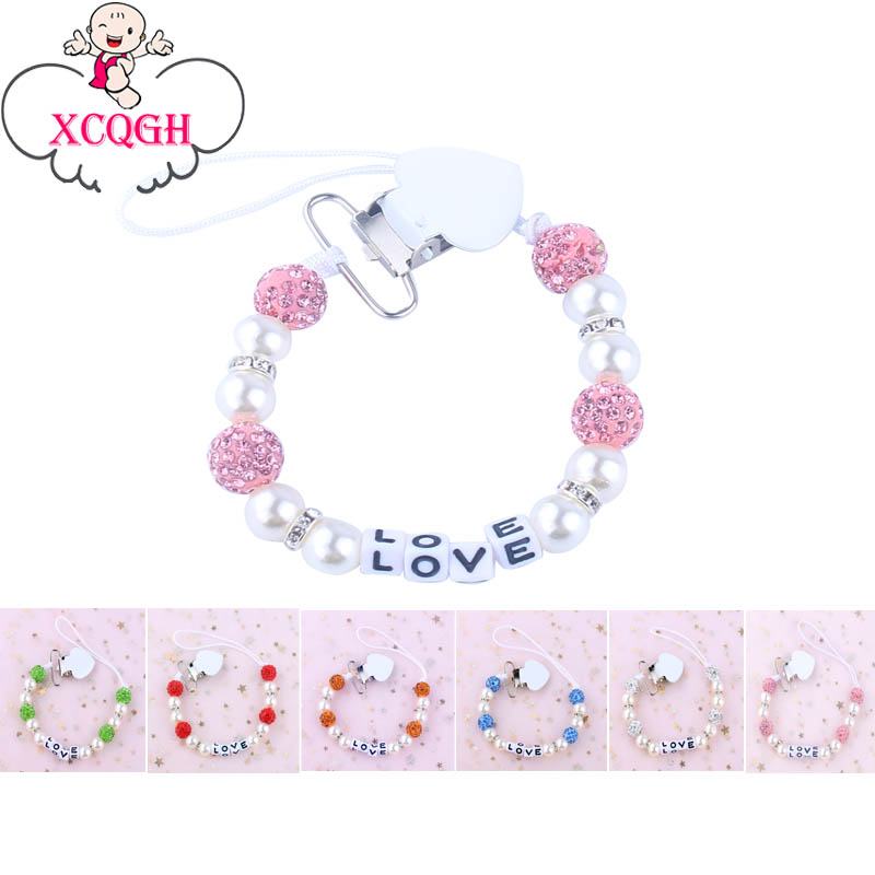 XCQGH Personalised Name Bling Bling Baby Pacifier Holder Clips Pearl Beads Pacifier Chain Attache Sucette Nipple Holder Strap