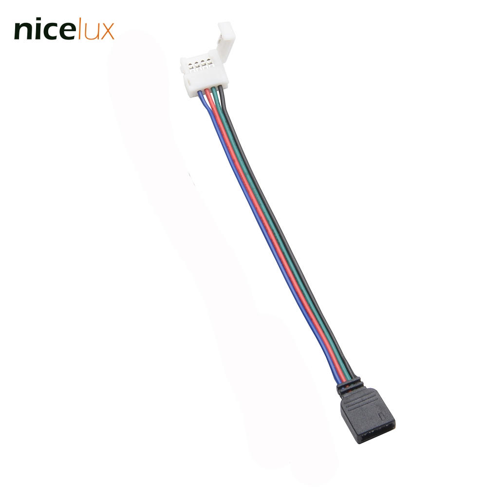 10pcs/lot <font><b>4</b></font> Pin RGB <font><b>LED</b></font> Strip Connector Wire Female Connector Cable for 10mm 3528 5050 <font><b>SMD</b></font> Non-Waterproof RGB <font><b>LED</b></font> Tape Light image
