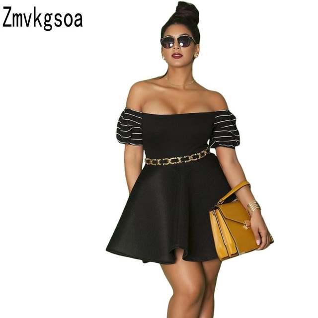 Zmvkgsoa Plus Size Skater Dresses Off Shoulder Pleated Mini ...