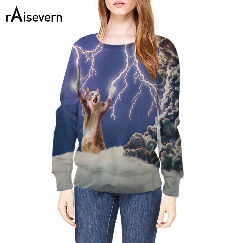 Raisevern New Horror Animal Cat Design 3D Hoodies Thundercat Sweatshirts Pullovers Long Sleeve Spring Tops For Men Women