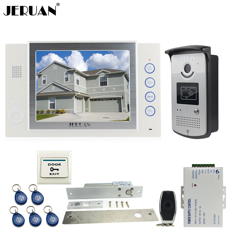 JERUAN NEW 8`` TFT color screen video door phone Record intercom system kit 700TVL RFID Access IR Night Vision Camera In stock jeruan wired 8 inch tft color screen video door phone record intercom system 4 monitor full metal ir night vision camera