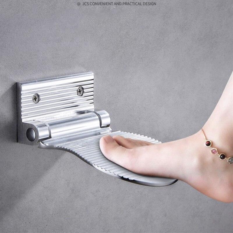LIUYUE ฝักบัวสตูลวางเท้าอลูมิเนียมสีดำ/ติดผนัง Silver 1 PC ฝักบัวสตูลห้องน้ำ REST PEDESTAL สตูลวางเท้าฮาร์ดแว...