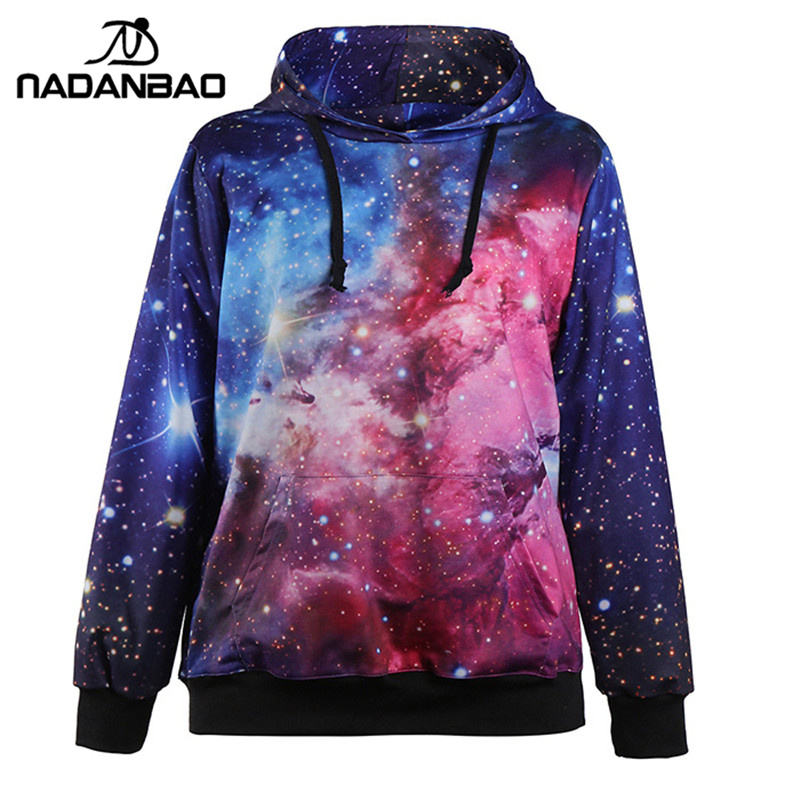 2019 Galaxy Women Hoodies Sweatshirt Fashion moletom Suit Outside Tracksuit Print Coat With Pocket sudaderas mujer