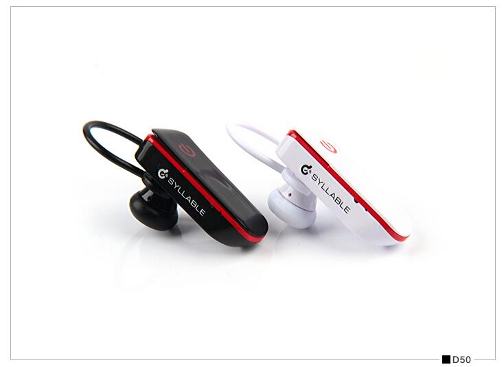 Syllable D50 Wireless Cordless Bluetooth Mini Headphone Ear-Hook Earphone With Mic Specially For Drivers Black / White