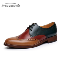 Women Natrual Leather Yinzo Flat Oxford Shoes Woman Vintage Round Toe Handmade Sneaker Wine Red Oxford