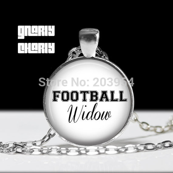 Vintage simple Steampunk movie Football Widow sport fans long chain mens Necklace 1pcs/lot bronze steel Glass Pendant jewelry image