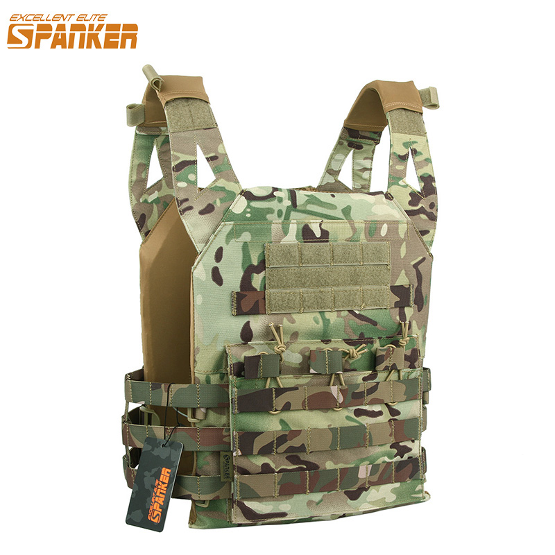 EXCELLENT ELITE SPANKER Outdoor Camouflage Men's Vest Molle JPC Vest Tactical Military Nylon Vests Hunting Jungle Combat Vest spanker 1000d camouflage tactical molle tank mechanic chef cooking grilling apron army training hunting waterproof nylon vest