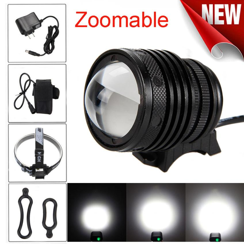 Zoomable T6 LED 5000 Lm Bicycle bike Head Light Headlamp Rechargeable Cycling Headlight with 8.4V 18650 Battery Pack Charger PJ4 bike bicycle xml t6 led headlamp headlight zoomable adjustable head light