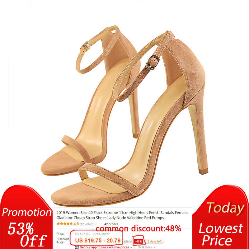 66d8cdbcef0 2019 Women Size 40 Flock Extreme 11cm High Heels Fetish Sandals Female  Gladiator Cheap Strap Shoes
