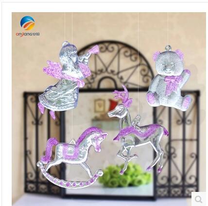 Christmas Ornament High Transparent Angel Bear Deer Horse Set of four acrylic wedding fe ...