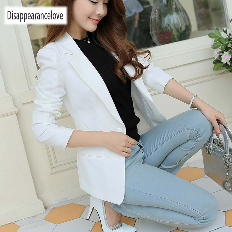 Disappearancelove Spring Women Slim Blazer Coat 2019 Plus Size Casual Jacket Long Sleeve One Button Suit Lady Blazers Work Wear