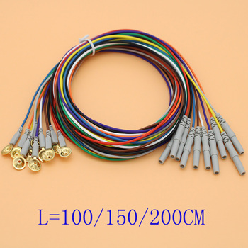 50pcs EEG/AEEG/VEEG cable Din 1.5mm female plug and Gold-plated copper electrode 1m,1.5m,2m cable for EEG cap.