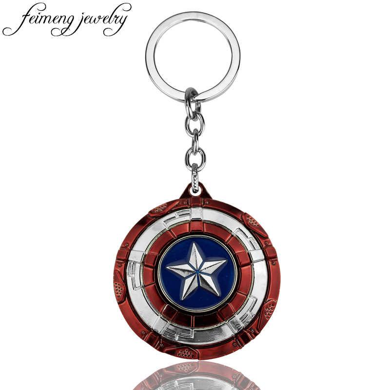 Los Vengadores Marvel Capitán América llavero superhéroe estrella escudo colgante coche llavero accesorios Batman llaveros llavero