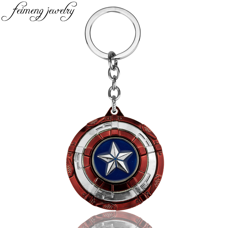 The Avengers Captain America Keychain Superhero Star Shield Pendant Keyring Car Key Chain Accessories Batman Marvel Key Chains piatnik логическая игра piatnik дай пять