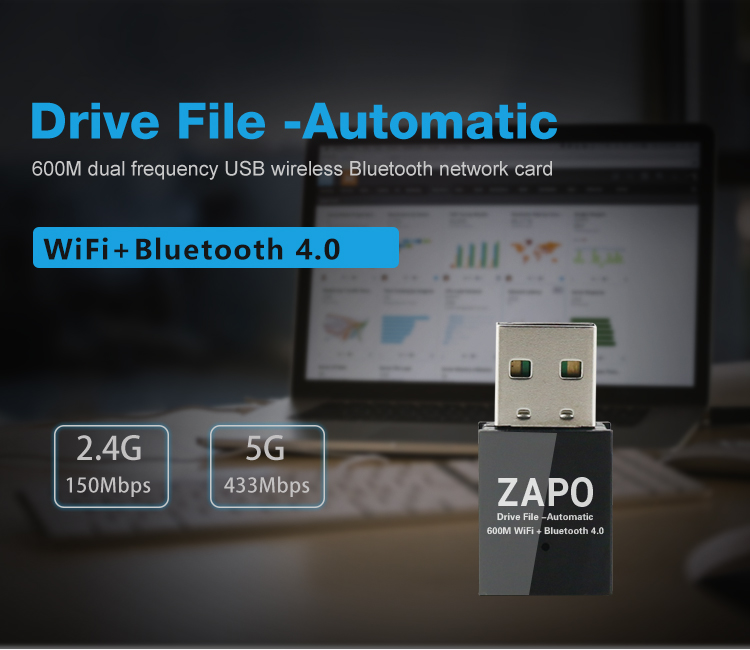 Generic Free Drive File 5G WiFi USB Bluetooth 4 0 Adapter Wireless