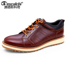 Odescalchi Men Casual Leather Shoes Slip-On Mens Genuine Leather Tooling Shoes Male Fashion Men Cowhide