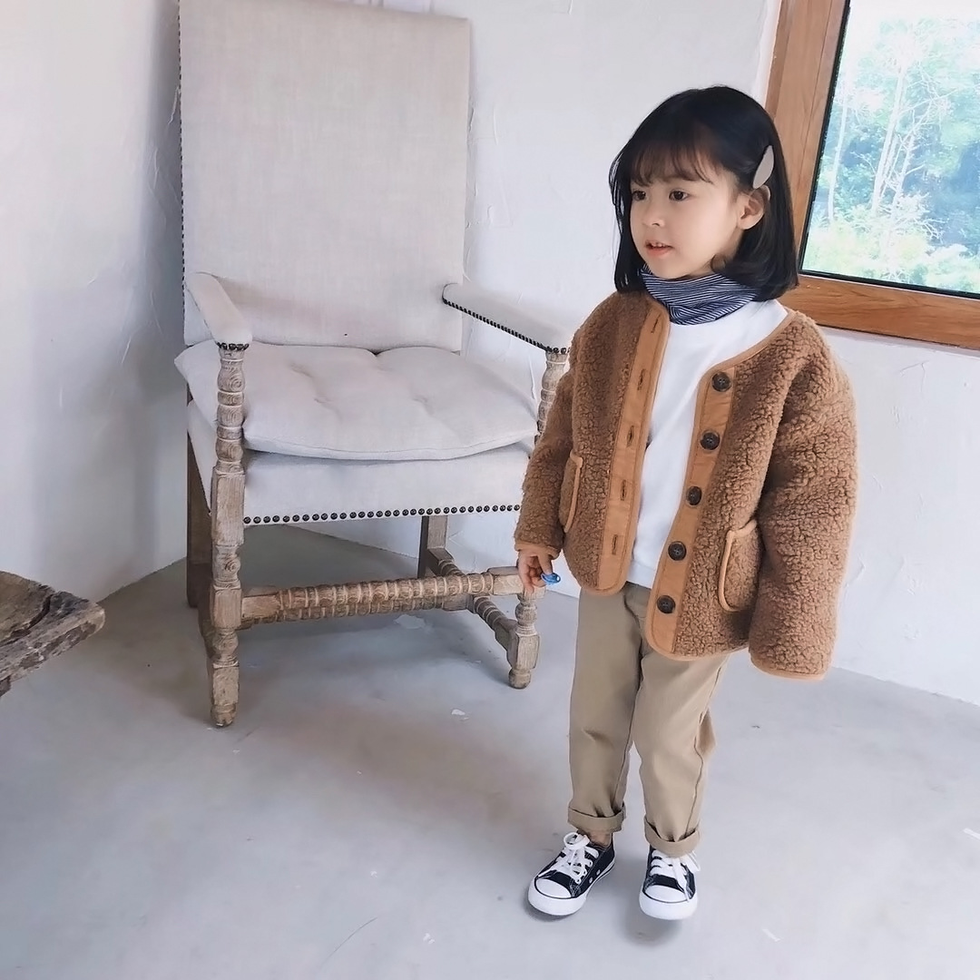 2018 Autumn Winter New Arrival Korean Version pure color woolen warm fashion thickened coat for cute sweet baby girls and boys 4