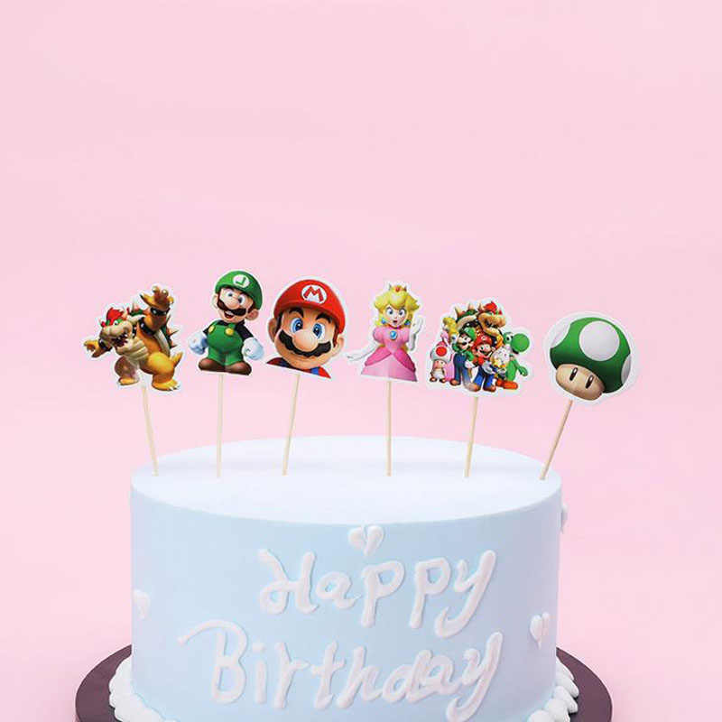 24Pcs/Pack Kawaii Happy Birthday Party Super Mario Theme Kids Favors Cupcake Toppers Decoration Baby Shower Cake Topper