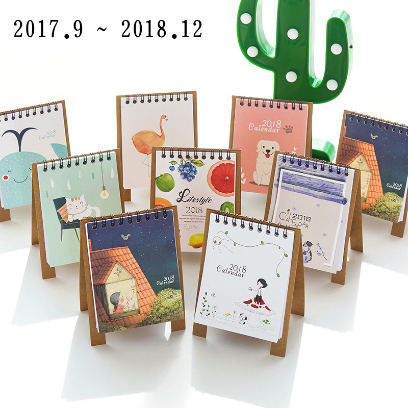 K&KBOOK Kawaii 2018 Calendar Cartoon Desktop Paper Calendar Dual Daily Scheduler Table Planner Yearly Organizer Agenda Diary