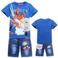 Nuevos niños que arropan los niños de dibujos animados de moda de Alta calidad de manga corta T-shirt y jeans traje de verano ropa de los cabritos 3-8 años