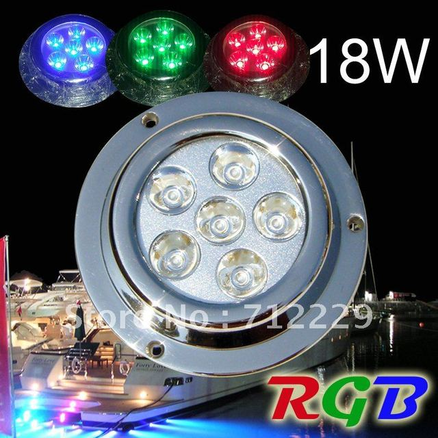 4 x18W LIGHTS + 1 x CONTROLLERS, MULTI-COLOR  RGB Color Changing / Fixed Color Underwater Yacht Boat Marine LED Light