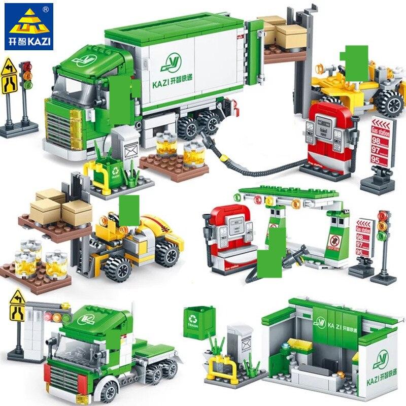 4 pçs/lote Rua DA CIDADE Vista Centro de Logística Expressa Blocos Define Classic Playmobil LegoINGLs Bricks DIY Brinquedos para Crianças