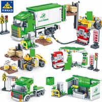 4Pcs/Lot CITY Street View Logistics Center Express Building Blocks Sets Classic Playmobil LegoINGLs DIY Bricks Toys for Children