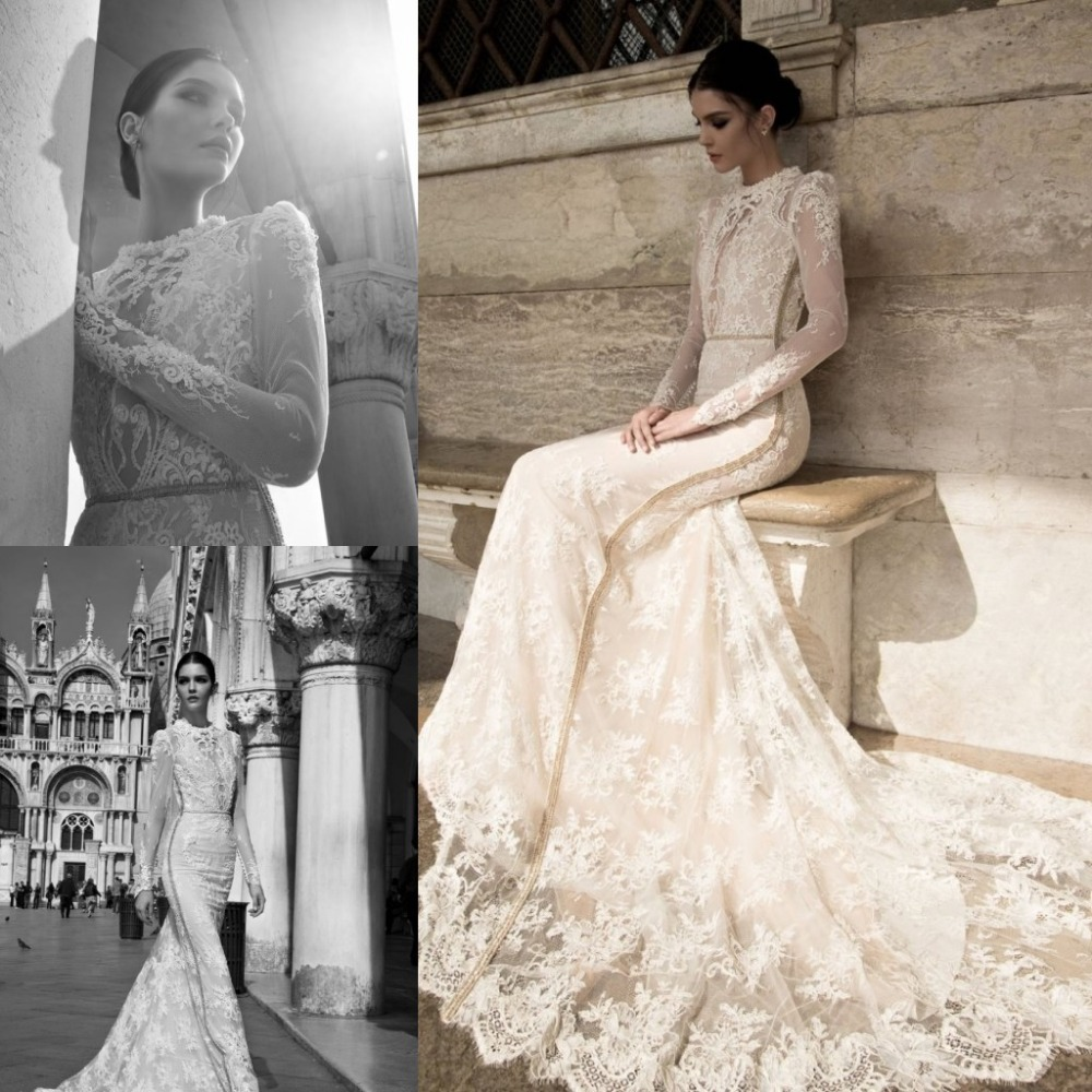 Inbal Dror 2015 High Neck Long Sleeves Backless Wedding Dress ...