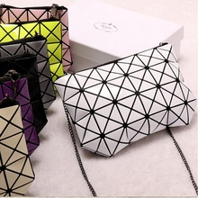 Women Fashion Fold Over Chain Handbag Madam PVC Geometric Goint Plaid Tote Casual Clutch Bags Messenger