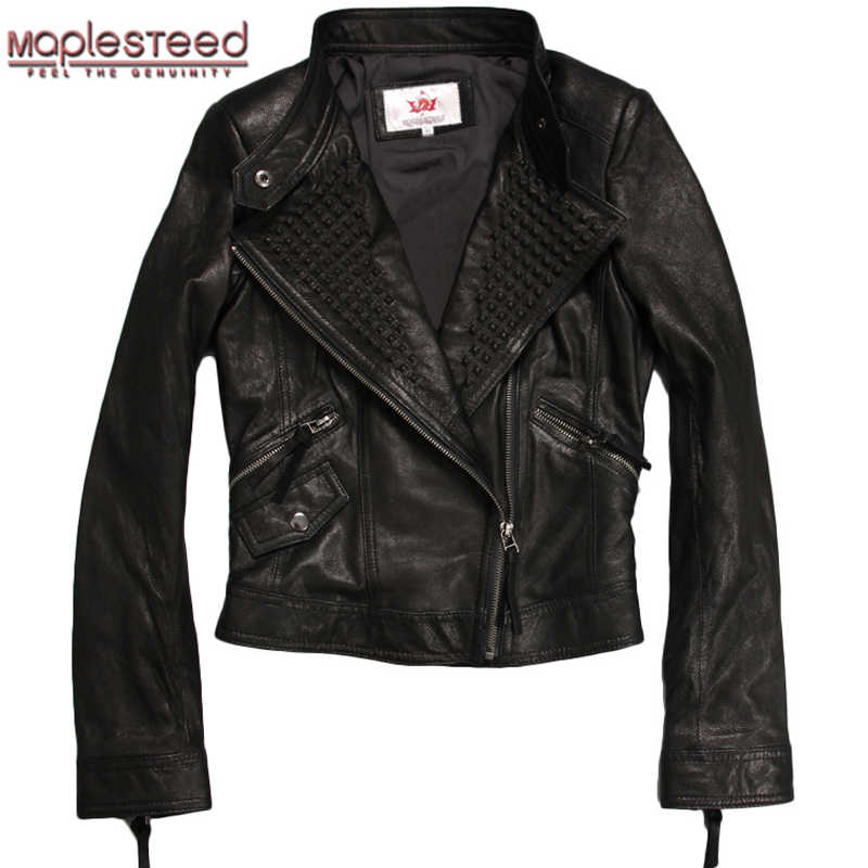 7bb7e8468bd MAPLESTEED Women Genuine Leather Jacket For Women Goat Skin Fashion Black  Thin Rivets Bomber Motorcycle Coat