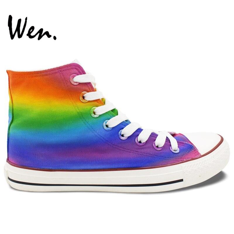 Wen Hand Painted Shoes Original Design Custom Sneakers Gradual Change of Color Colorful High Top Men Women's Canvas Sneakers