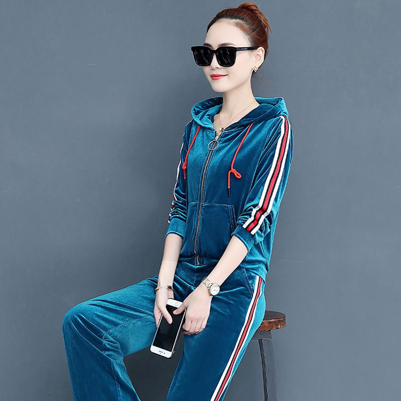 YICIYA velvet tracksuits 2 piece set women co ord set outfit pants suits and top plus