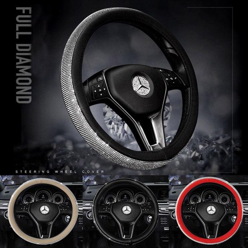 Del volante del coche del diamante cubiertas para mujeres niñas cuero señora Crystal Rhinestone volante casos Auto accesorios interiores