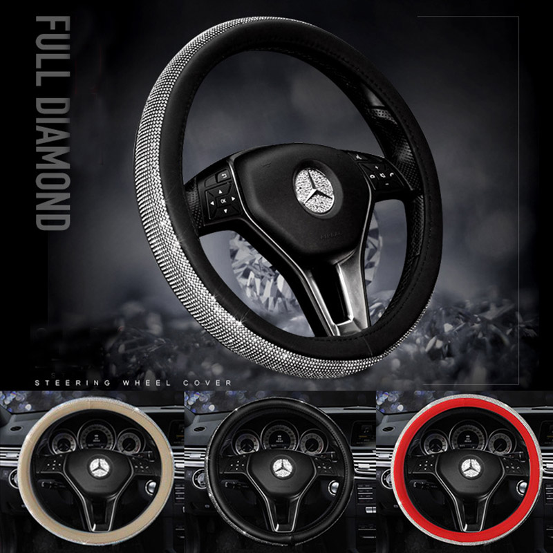 Diamond Car Steering Wheel Covers for Women Girls Leather Lady Crystal Rhinestone Steering-Wheel Cases Auto Interior Accessories vintage leather steering wheel cover flower printing women s car steering wheel covers for girls car steering accessories