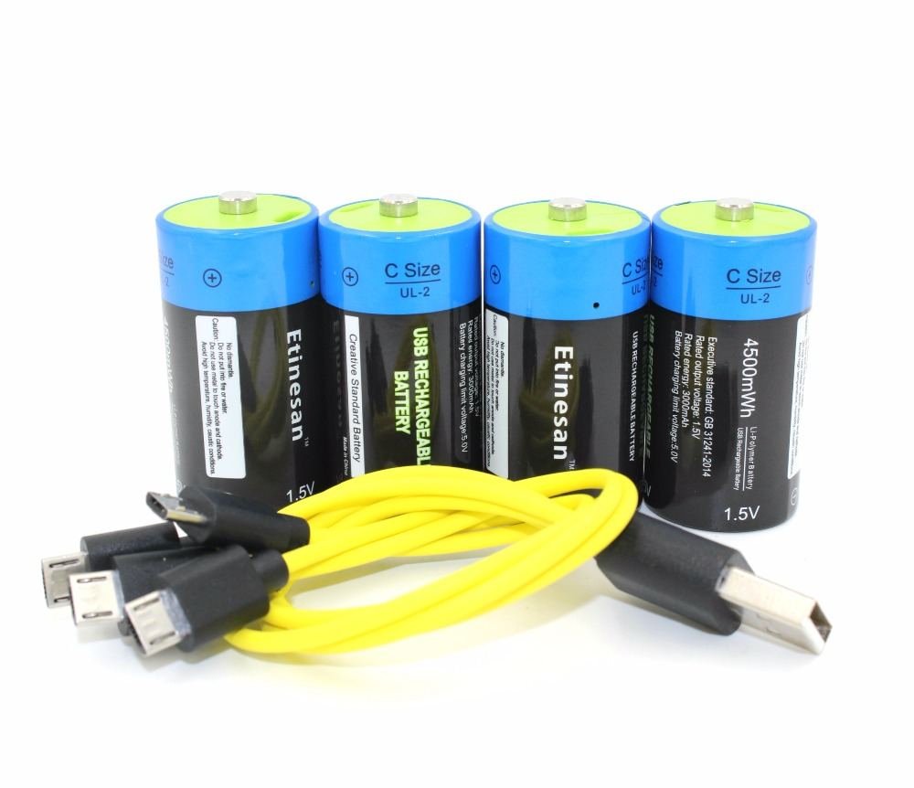 4pcs Etinesan 1.5v 4500mWh C Size Lithium Li-Polymer C type USB Rechargeable battery with USB charging cable set brown 3 7v lithium polymer battery 7565121 charging treasure mobile power charging core 8000 ma rechargeable li ion cell
