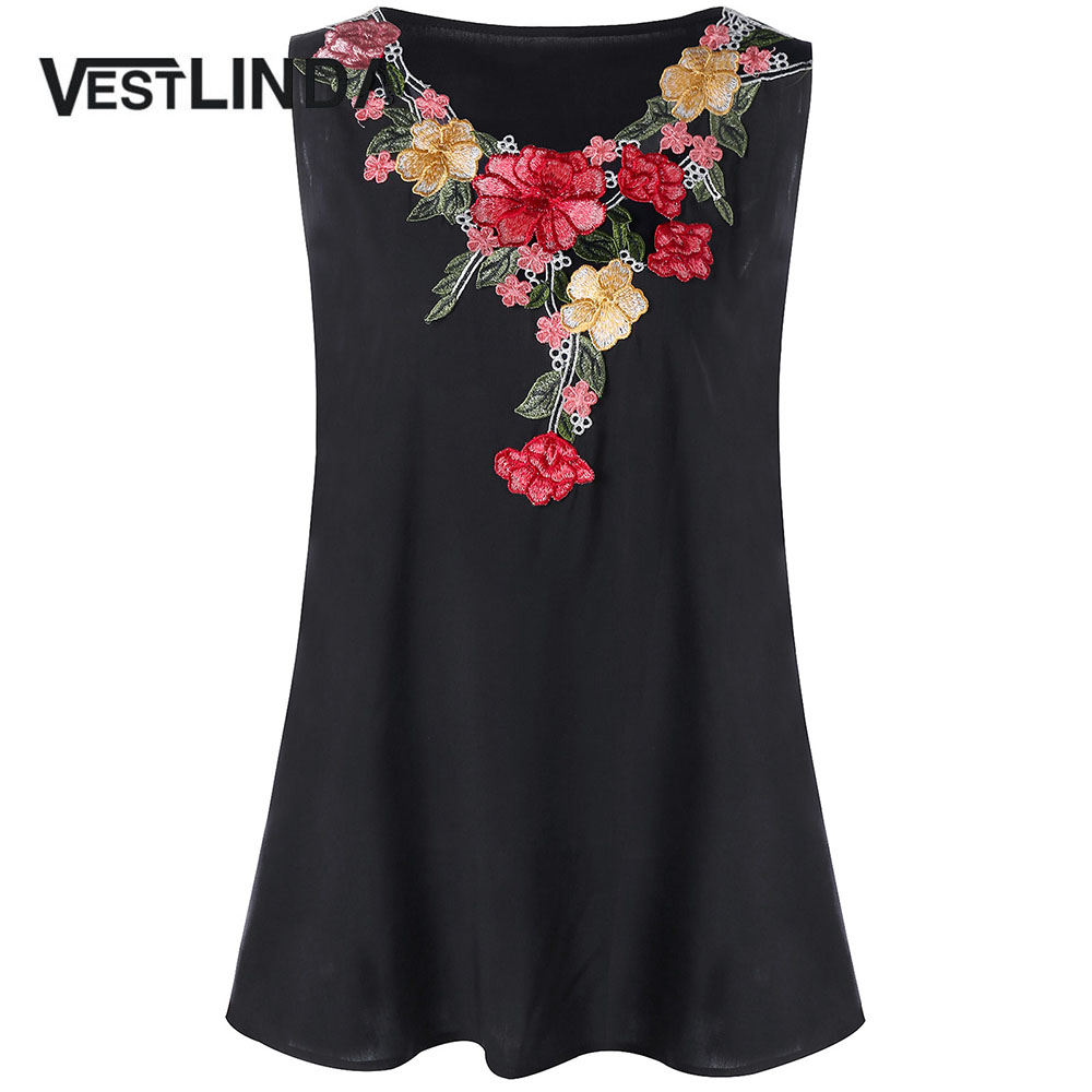 VESTLINDA Plus Size Embroidery Floral Tank Top Women Tanks Summer Sleeveless Round Neck Fashion Ladies Tops Tees 2018 Clothing