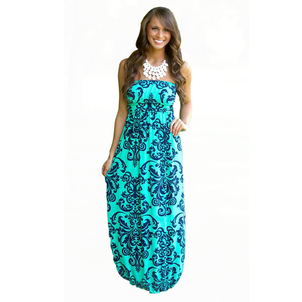 Buy Cheap 2016 Summer Women Long Beach Dress Bohemian Sleeveless Floral Printed Sexy Strapless Boho Maxi Dress Sexy Empire Dress Vestidos