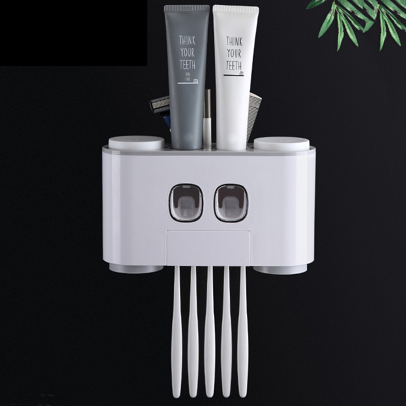 AODMUKI Bathroom Automatic Toothpaste Dispenser Toothpaste Squeezer Wall Mounted Toothbrush Holder Bathroom Accessories Set