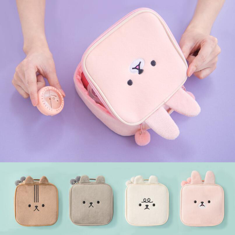 150pcs/lot Cute Rabbit Style Cosmetic Case Plush Makeup Bag Girl Wash Bag Cute Women Portable Bag Toiletry Storage Travel Bags