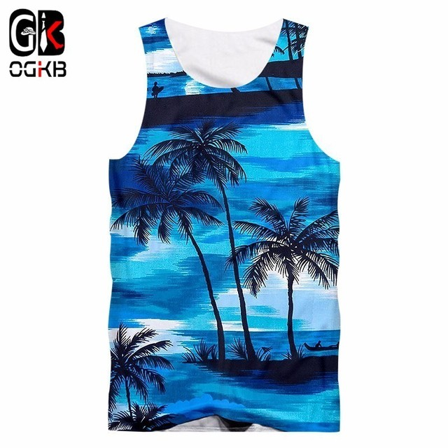 1b9099f864fec OGKB Tank Tops Male Leisure Seaside 3D Vest Print Coconut tree Streetwear Large  Size Habiliment Men Spring Sleeveless Shirt