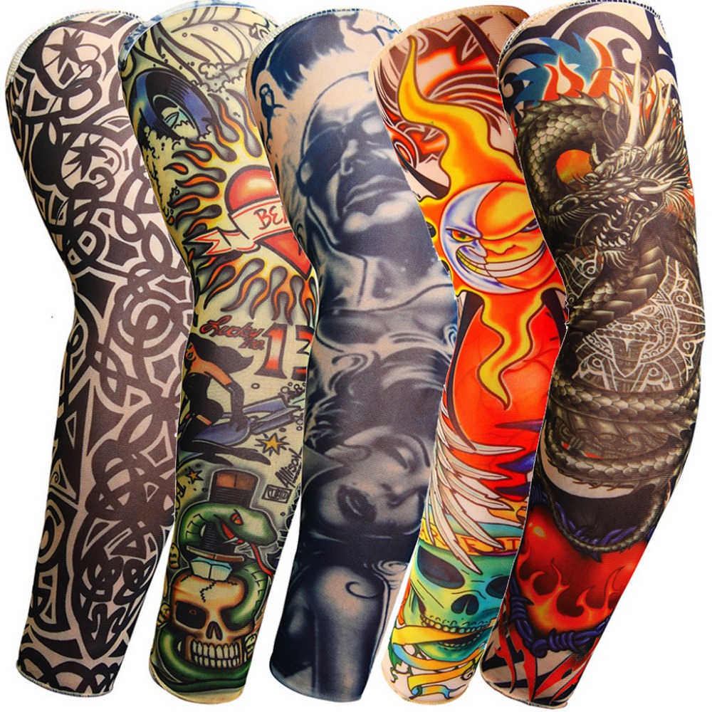 Hot Sale 1PC Tattoo Sleeve Arm Warmer Unisex UV Protection Outdoor Temporary Fake Tattoo Arm Sleeve Warmer Elastic Sleeve Mangas