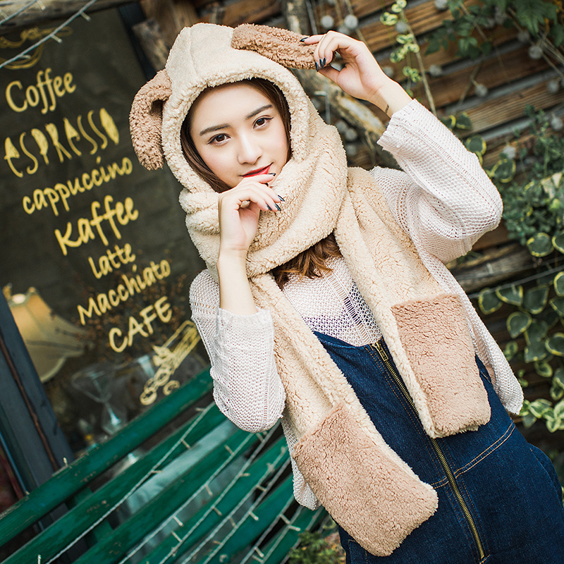 ZDFURS*Autumn Winter Hat Female One-piece Hat Warm Thick Padded Face Riding Hat Cute Student Cap